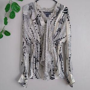 Celia Birtwell for Express silk blouse medium